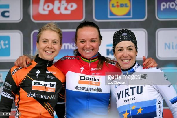 Podium / Jip Van Den Bos of The Netherlands and Boels Dolmans Cycling Team / Chantal Blaak of The Netherlands and Boels Dolmans Cycling Team / Marta...