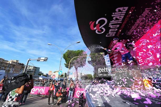 Podium / Joao Almeida of Portugal and Team Deceuninck - Quick-Step Pink Leader Jersey / Celebration / Champagne / Miss / Hostess / Press Media /...