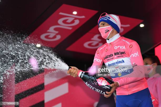 Podium / Joao Almeida of Portugal and Team Deceuninck - Quick-Step Pink Leader Jersey / Celebration / Champagne / during the 103rd Giro d'Italia...