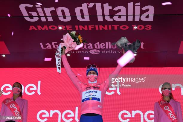 Podium / Joao Almeida of Portugal and Team Deceuninck - Quick-Step Pink Leader Jersey / Celebration / Flowers / Mascot / Miss / during the 103rd Giro...