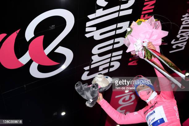 Podium / Joao Almeida of Portugal and Team Deceuninck - Quick-Step Pink Leader Jersey / Celebration / Flowers / Mascot / Mask / Covid safety measures...