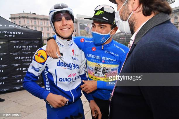 Podium / Joao Almeida of Portugal and Team Deceuninck - Quick-Step / Ruben Guerreiro of Portugal and Team EF Pro Cycling Blue Mountain Jersey /...