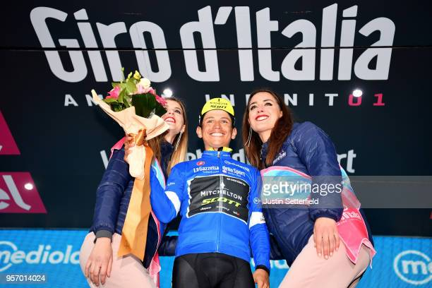 Podium / Johan Esteban Chaves Rubio of Colombia and Team MitcheltonScott Blue Mountain Jersey / Celebration / during the 101th Tour of Italy 2018...