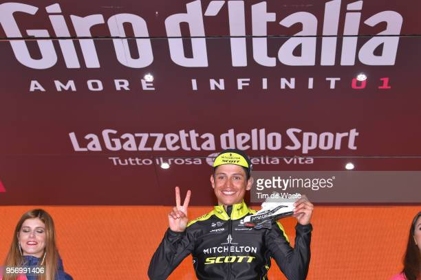 Podium / Johan Esteban Chaves Rubio of Colombia and Team MitcheltonScott / Celebration / Sidi Shoe / during the 101th Tour of Italy 2018 Stage 6 a...
