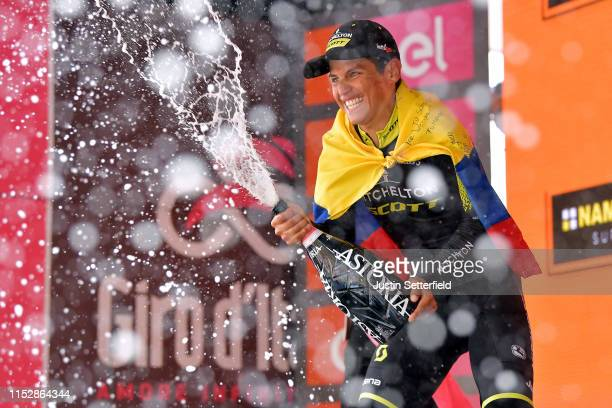 Podium / Johan Esteban Chaves Rubio of Colombia and Team Mitchelton Scott / Celebration / Champagne / Colombian Flag / during the 102nd Giro d'Italia...