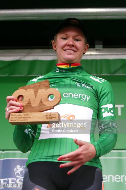 Podium / Jolien D'Hoore of Belgium and Team Boels Dolmans OVO Energy Green leader jersey / Celebration / Trophy / during the 6th OVO Energy Women's...