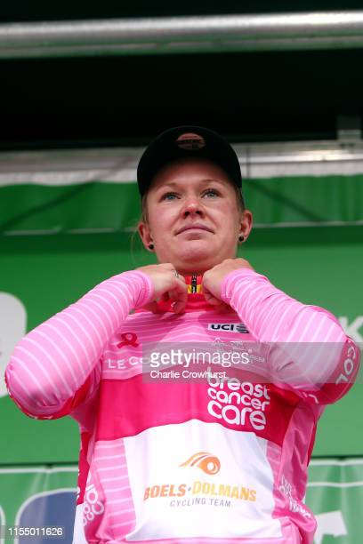 Podium / Jolien D'Hoore of Belgium and Team Boels Dolmans Pink Breast Cancer Care points jersey / Celebration / during the 6th OVO Energy Women's...