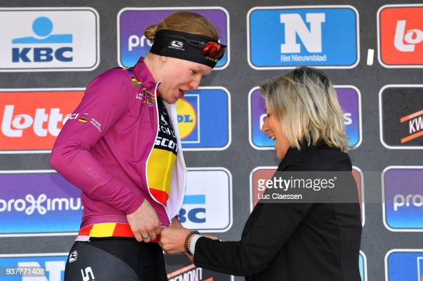 Podium / Jolien DHoore of Belgium and Team MitchelsonScott Celebration / UCI leaders jersey / during the 7th GentWevelgem In Flanders Fields 2018 a...