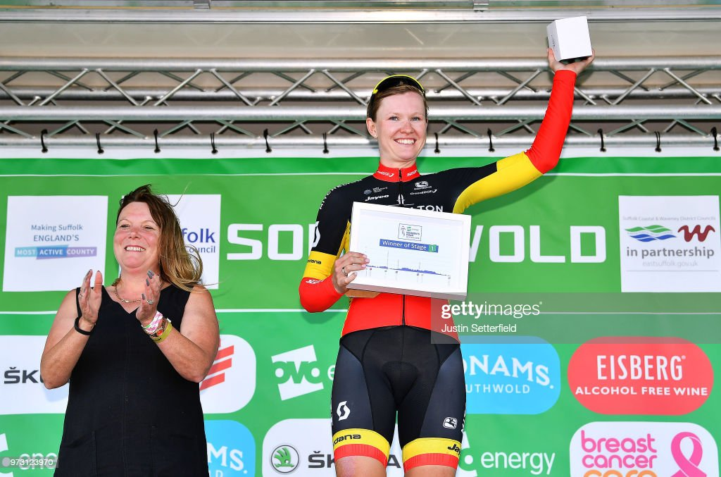 Podium / Jolien DHoore of Belgium and Team Mitchelton-Scott / Celebration / during the 5th OVO Energy Women's Tour 2018, Stage 1 a 130km stage from Framlingham to Southwold on June 13, 2018 in Southwold, England.