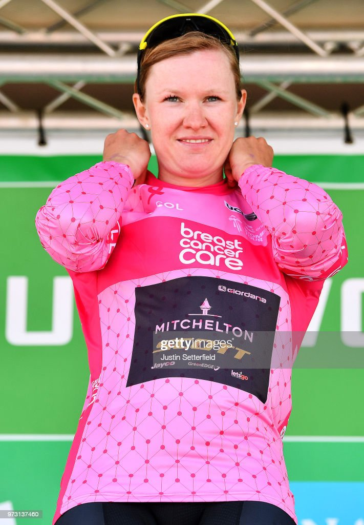 Podium / Jolien DHoore of Belgium and Team Mitchelton-Scott Pink Breast Cancer Care Points Jersey / Celebration / during the 5th OVO Energy Women's Tour 2018, Stage 1 a 130km stage from Framlingham to Southwold on June 13, 2018 in Southwold, England.