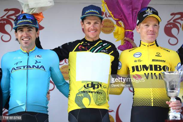 Podium / Jon Izaguirre Insausti of Spain and Astana Pro Team / Jakob Fuglsang Denmark and Astana Pro Team Yellow Leader Jersey / Steven Kruijswijk of...