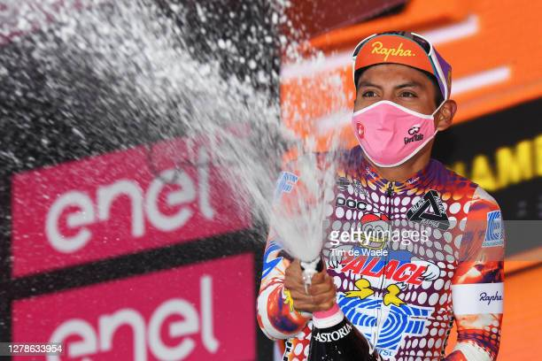 Podium / Jonathan Caicedo Cepeda of Ecuador and Team EF Pro Cycling / Celebration / Mask / Covid safety measures / Champagne / during the 103rd Giro...