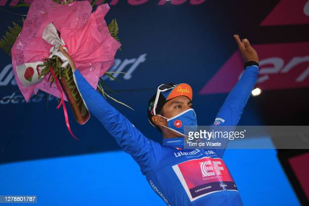 Podium / Jonathan Caicedo Cepeda of Ecuador and Team EF Pro Cycling Blue Mountain Jersey / Celebration / Flowers / during the 103rd Giro d'Italia...