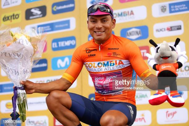 Podium / Jonathan Caicedo of Ecuador and Team EF Pro Cycling Orange Leader Jersey / Celebration / during the 3rd Tour of Colombia 2020, Stage 3 a...