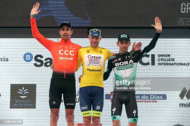 Podium / Josef Černý of Czech Republic and CCC Team / Xandro Meurisse of Belgium and Team Circus - Wanty Gobert Yellow Leader Jersey / Lennard Kämna...