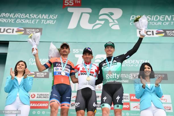 Podium / Juan Jose Lobato Del Valle of Spain and Team Nippo Vini Fantini - Faizane / Caleb Ewan of Australia and Team Lotto Soudal / Sam Bennett of...
