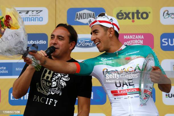 Podium / Juan Sebastian Molano Benavides of Colombia and UAE Team Emirates Green Stage Winner Jersey / Celebration / Trophy / during the 3rd Tour of...