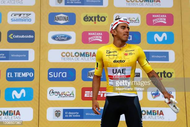 Podium / Juan Sebastian Molano Benavides of Colombia and UAE Team Emirates Yellow Points Jersey / Celebration / during the 3rd Tour of Colombia 2020,...