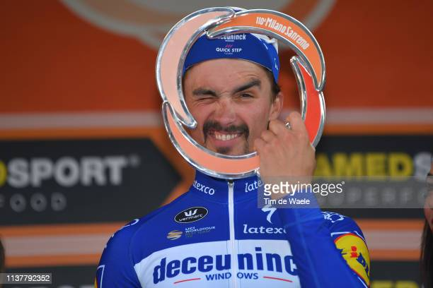 Podium / Julian Alaphilippe of France and Team Deceuninck - Quick Step / Celebration / Trophy / during the 110th Milan-Sanremo 2019 a 291km race from...
