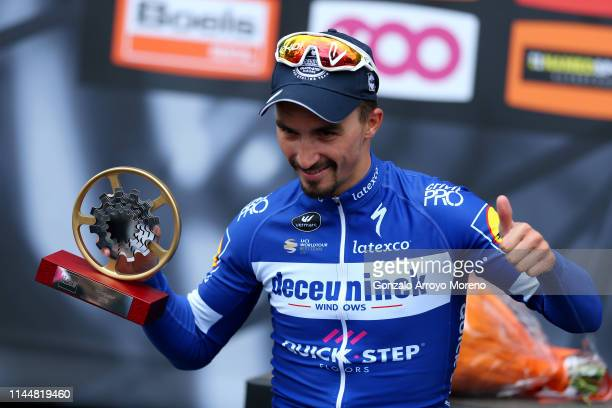 Podium / Julian Alaphilippe of France and Team Deceuninck - Quick-Step / Celebration / Trophy / during the 83rd La Fleche Wallonne 2019 a 195,5km...