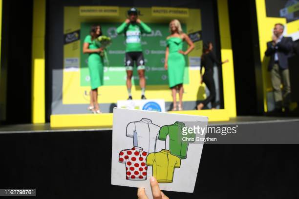 Podium / Julian Alaphilippe of France and Team Deceuninck - Quick-Step Yellow Leader Jersey / Tim Wellens of Belgium and Team Lotto Soudal Polka Dot...