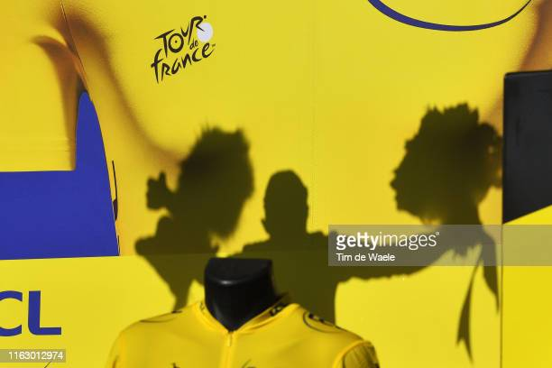 Podium / Julian Alaphilippe of France and Team Deceuninck - Quick-Step Yellow Leader Jersey / Celebration / Lion Mascot / Shadow / Detail view /...