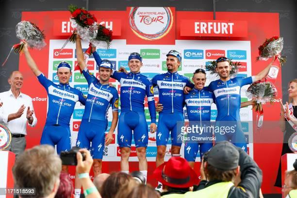Podium / Julian Alaphilippe of France and Team Deceuninck - Quick-Step / Kasper Asgreen of Denmark and Team Deceuninck - Quick-Step / Remco Evenepoel...