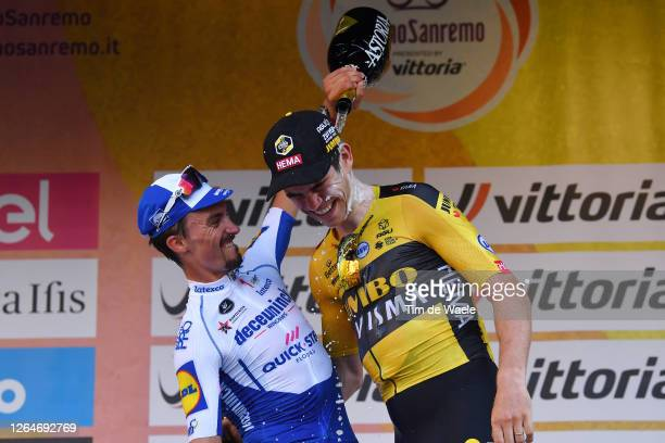 Podium / Julian Alaphilippe of France and Team Deceuninck - Quick-Step / Wout Van Aert of Belgium and Team Team Jumbo - Visma / Celebration / Trophy...