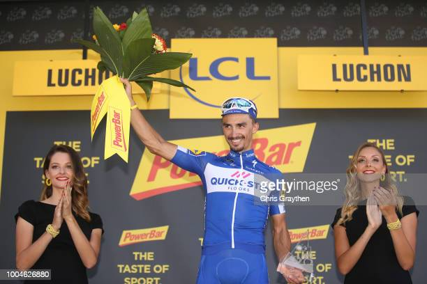 Podium / Julian Alaphilippe of France and Team QuickStep Floors Celebration / during the 105th Tour de France 2018 Stage 16 a 218km stage from...
