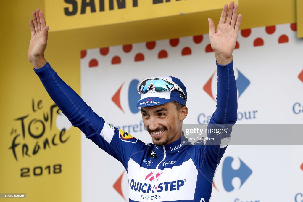 Podium / Julian Alaphilippe of France and Team Quick-Step Floors / Celebration / during the 105th Tour de France 2018, Stage 17, a 67km stage from Bagneres-de-Luchon to Saint-Lary-Soulan - Col du Portet 2215m / TDF / on July 25, 2018 in Saint-Lary-Soulan - Col du Portet, France.