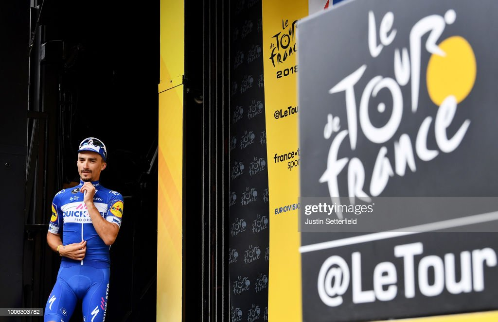 Podium / Julian Alaphilippe of France and Team Quick-Step Floors / Celebration / during the 105th Tour de France 2018, Stage 19 a 200,5km stage from Lourdes to Laruns / TDF / on July 27, 2018 in Laruns, France.