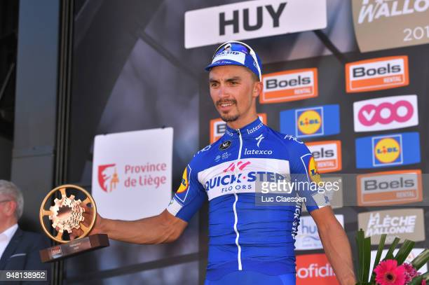 Podium / Julian Alaphilippe of France and Team QuickStep Floors / Celebration / during the 82nd La Fleche Wallonne 2018 a 1985km race from Seraing to...