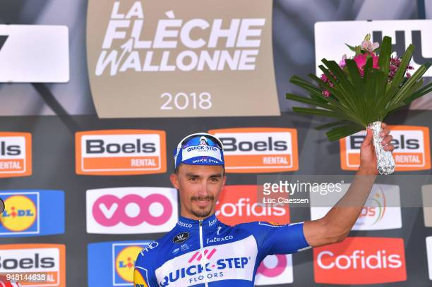 Podium / Julian Alaphilippe of France and Team QuickStep Floors / Celebration/ during the 82nd La Fleche Wallonne 2018 a 1985km race from Seraing to...