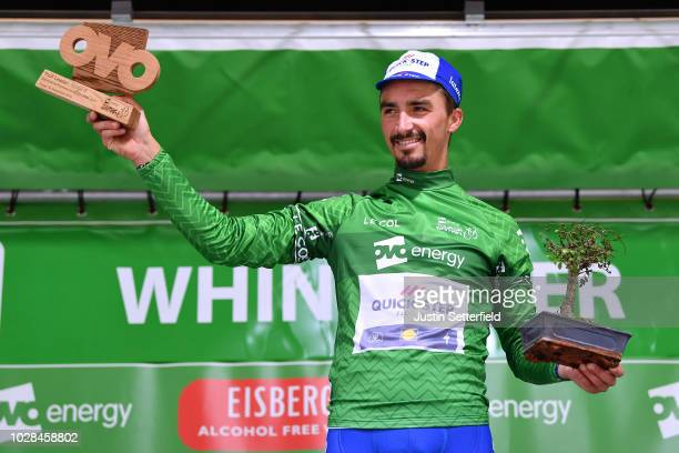 Podium / Julian Alaphilippe of France and Team Quick-Step Floors Green Leader Jersey / Celebration / during the 15th Tour of Britain 2018, Stage 6 a...