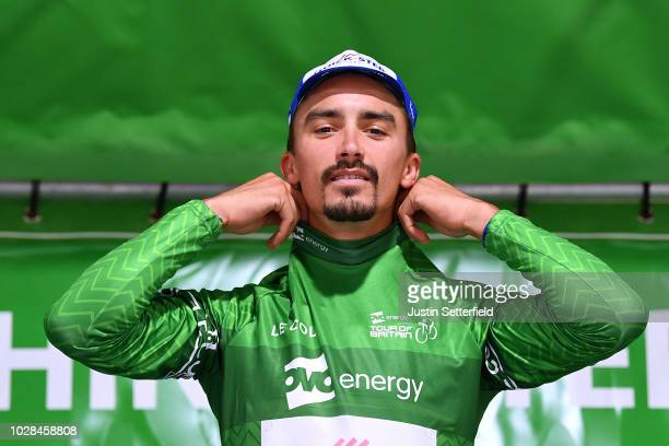 Podium / Julian Alaphilippe of France and Team QuickStep Floors Green Leader Jersey / Celebration / during the 15th Tour of Britain 2018 Stage 6 a...