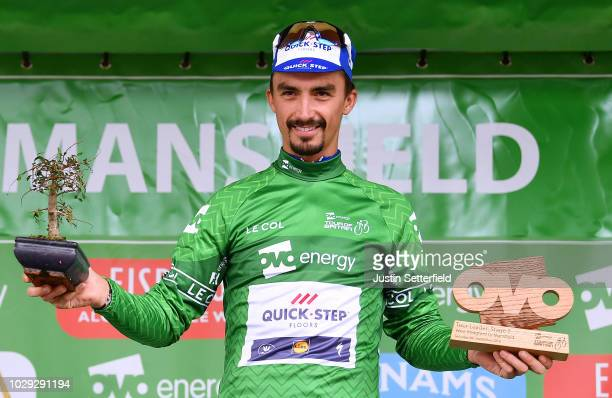 Podium / Julian Alaphilippe of France and Team QuickStep Floors Green Leader Jersey Celebration / during the 15th Tour of Britain 2018 Stage 7 a...