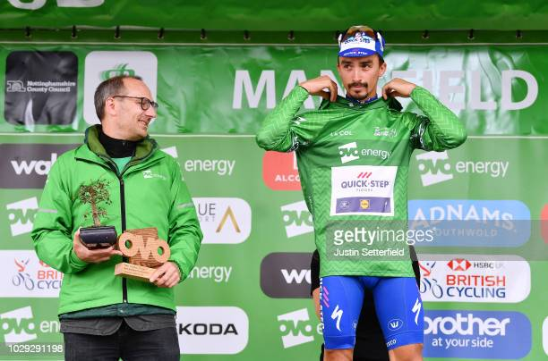 Podium / Julian Alaphilippe of France and Team Quick-Step Floors Green Leader Jersey Celebration / during the 15th Tour of Britain 2018, Stage 7 a...