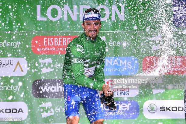 Podium / Julian Alaphilippe of France and Team QuickStep Floors Green Leader Jersey / Celebration / Champagne / during the 15th Tour of Britain 2018...