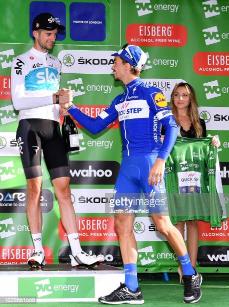 Podium / Julian Alaphilippe of France and Team QuickStep Floors Green Leader Jersey / Wout Poels of The Netherlands and Team Sky / Celebration /...