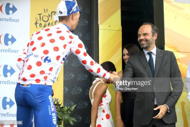 Podium / Julian Alaphilippe of France and Team Quick-Step Floors Polkadot mountain jersey / Edouard Philippe of France, French Prime Minister /...