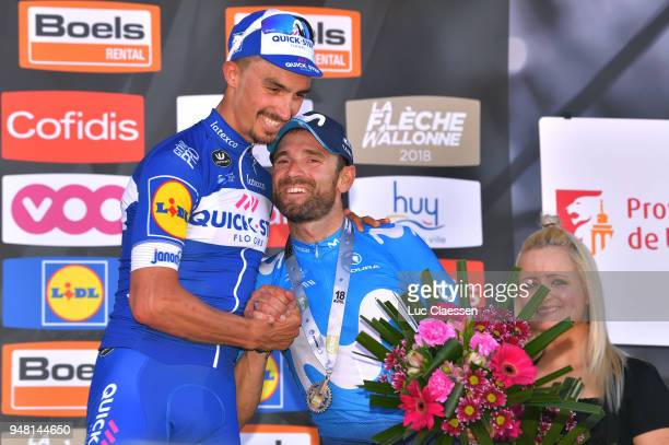 Podium / Julian Alaphilippe of France and Team QuickStep Floors / Celebration / Alejandro Valverde Belmonte of Spain and Movistar Team / during the...