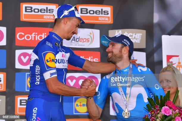 Podium / Julian Alaphilippe of France and Team Quick-Step Floors / Celebration / Alejandro Valverde Belmonte of Spain and Movistar Team / during the...