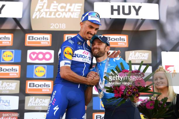 Podium / Julian Alaphilippe of France and Team Quick-Step Floors / Alejandro Valverde Belmonte of Spain and Movistar Team / Celebration / during the...