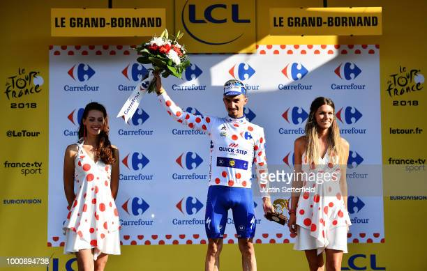 Podium / Julian Alaphilippe of France and Team QuickStep Floors /Polka Dot Mountain Jersey / Celebration / during the 105th Tour de France 2018 /...