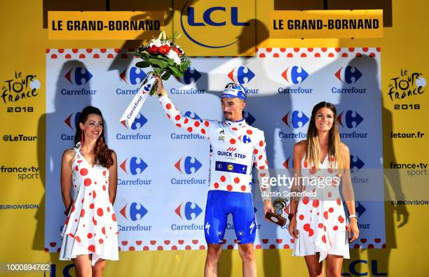Podium / Julian Alaphilippe of France and Team Quick-Step Floors /Polka Dot Mountain Jersey / Celebration / during the 105th Tour de France 2018 /...