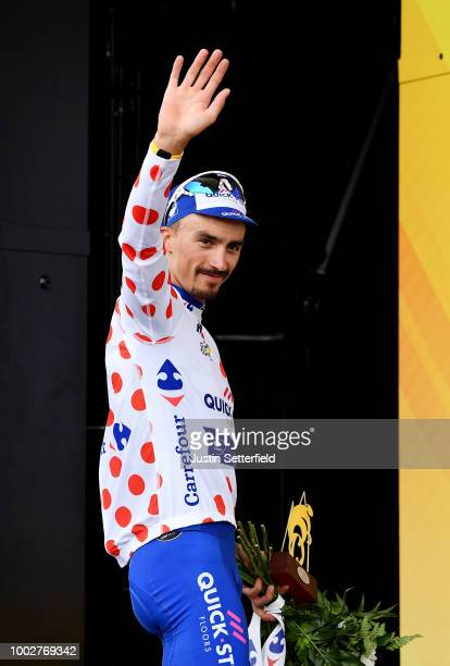 Podium / Julian Alaphilippe of France and Team Quick-Step Floors Polka dot Mountain Jersey / during the 105th Tour de France 2018, Stage 13 a 169,5km...