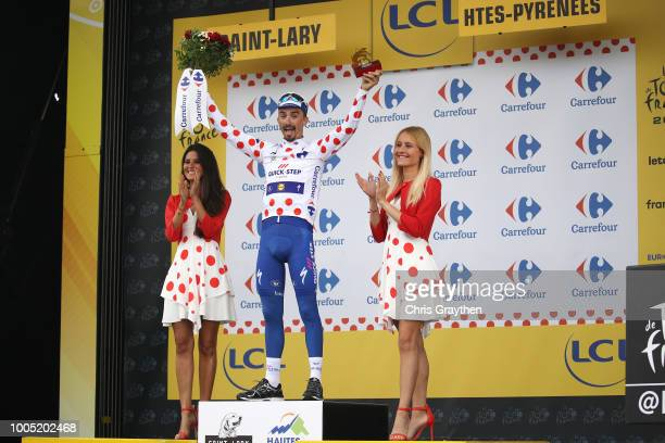 Podium / Julian Alaphilippe of France and Team Quick-Step Floors Polka Dot Mountain Jersey / Celebration / during the 105th Tour de France 2018,...