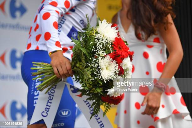 Podium / Julian Alaphilippe of France and Team Quick-Step Floors Polka Dot Mountain Jersey / Celebration / Illustration / Flowers / during the 105th...