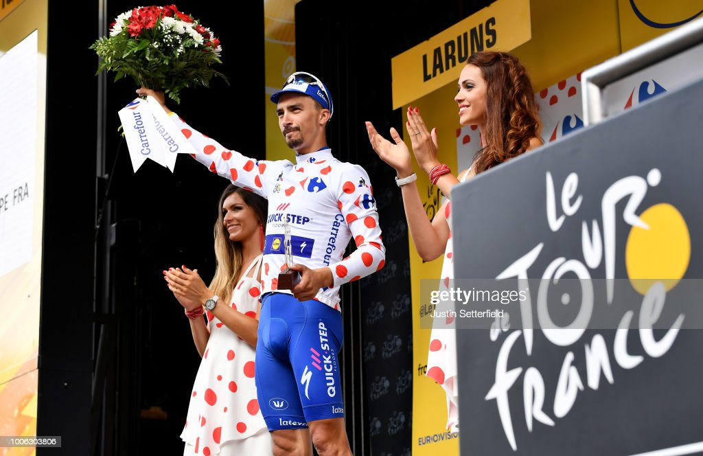 Podium / Julian Alaphilippe of France and Team Quick-Step Floors Polka Dot Mountain Jersey / Celebration / during the 105th Tour de France 2018, Stage 19 a 200,5km stage from Lourdes to Laruns / TDF / on July 27, 2018 in Laruns, France.