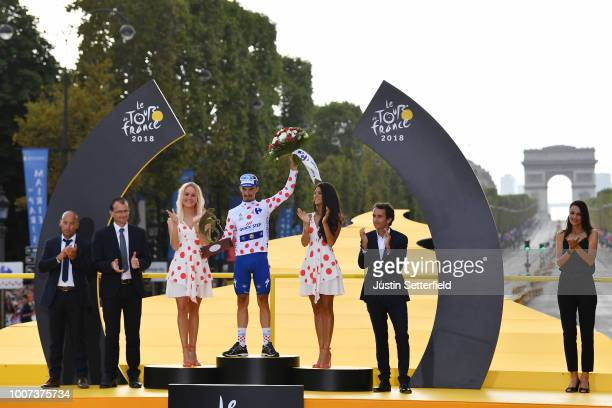 Podium / Julian Alaphilippe of France and Team Quick-Step Floors Polka Dot Mountain Jersey / Celebration / Arc De Triomphe / during the 105th Tour de...